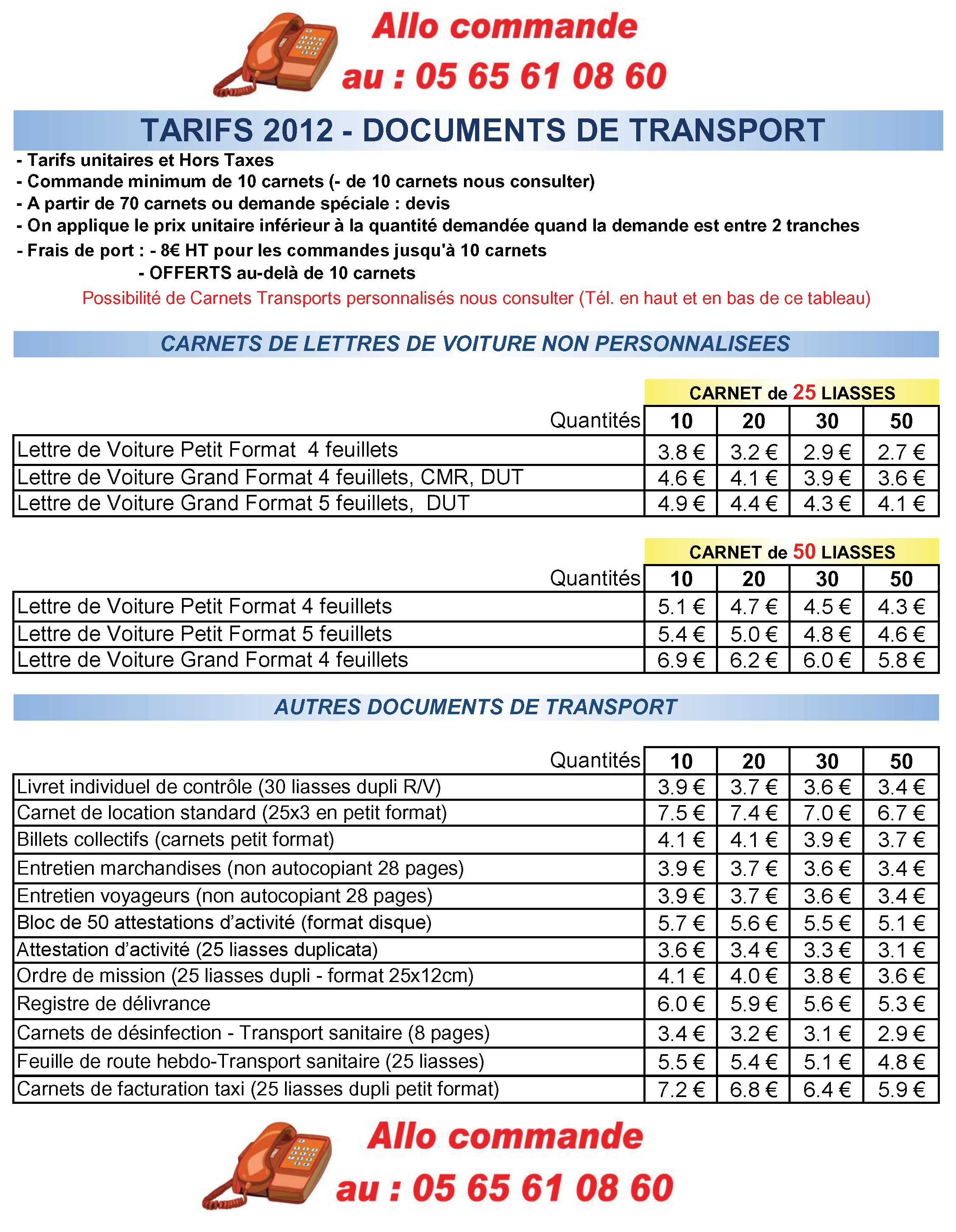 PRIX DIRECTS FABRICANT pour Carnets et documents Transports Routiers