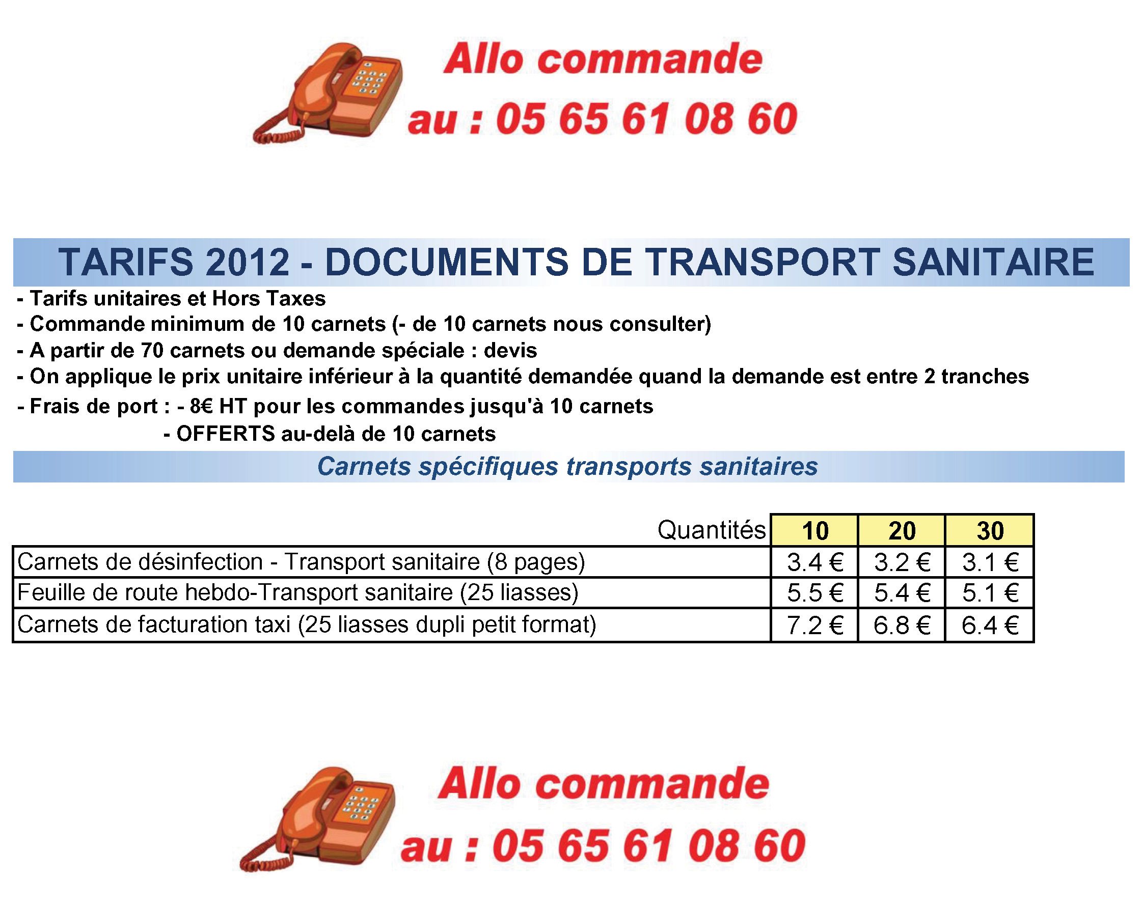 PRIX DIRECTS FABRICANT carnets et liasses Transports Sanitaires